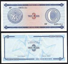3 Pesos C ubanos Foreign Exchange Certificates ND Series C UNC P FX 20