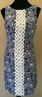 Lilly Pulitzer Womens Sheath Dress Size 6 Blue Fish Motif Lace Sleeveless Cotton