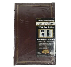 Pioneer Bi-Directional Photo Album 200 Pockets European Bonded Leather Burgundy