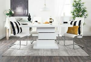 APOLLO White High Gloss Chrome Dining Table Set and 6 Faux Leather Chairs Seats