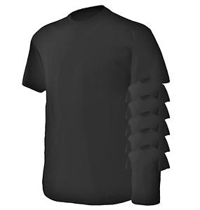 Gildan 6 Pack Men's Heavy 100% Preshrunk Rib Neck Cotton T-Shirt, Black, Large