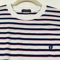 Hang Ten Men's Short Sleeve T Shirt Large L Blue White Red Stripes Crew Cotton