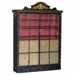 ANTIQUE VICTORIAN 1860 EBONISED LIBRARY BOOKCASE SLIDING GLAZED DOORS CARVED OAK