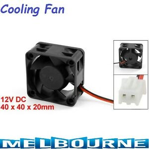 12V 40mm x 20mm 2 Pin PC Cooling Fan CPU Cooler Heat Sink High RPM 4020 Black #S