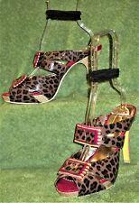Poetic Licence Platform Sandal Heels 39 8 Moonlight Dancer Leather Cheetah Print