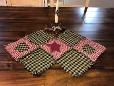 Plaid Homespun PriMiTivE Rag Quilt Table Runner Red Green Christmas Centerpiece
