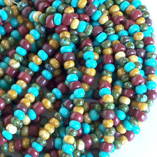 Turquoise Picasso Tribal Mix, 6/0 Czech Seed Beads, Trade Bead Style Preciosa