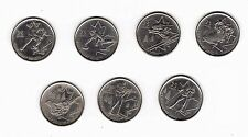 Vancouver 2010 Winter Olympic Games Set of 7 Canadian 25 Cent Coins - Circulated