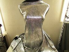 BY THE YARD POLY LYCRA 4W STRETCH REPTILE PRINT IN SILVER HOLOGRAM METALLIC NEW