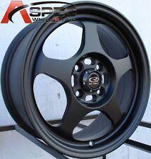 15X7 +40 SLIPSTREAM 4X100 BLACK WHEELS Fits Honda Acura Scion Mazda Light Wheels