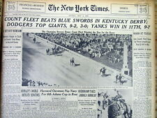 1943 NY Times newspaper COUNT FLEET WINS KENTUCKY DERBY Triple Crown HORSE RACE