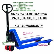 """PALLET JACK / HAND TRUCK 5500 LBs 27"""" X 48"""" NEW 1-YEAR WARRANTY FREE SHIPPING"""