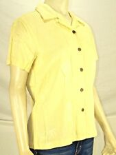 Port Authority Yellow Button Front Short Sleeve Top Womens Size S Small 4 6