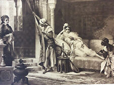 Luigi Crosio Orientaliste héliogravure au grain XIXe Scène Mauresque Le Harem