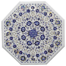 """15""""x15"""" White New Beautiful Decorative Marble Coffee Table Top Flower Inlay Art"""