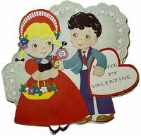 Vtg Die Cut Folded Card Heart Shaped Retro Girl Boy Sweetheart For My Valentine