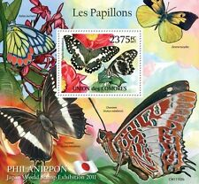 Butterflies II Philanippon Comores 2011 s/s Mi. Bl.620 MNH #CM11102b IMPERF