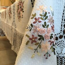 "72"" x 126"" Handmade Crochet Lace Tablecloth  COLOR white  100 % COTTON -oblong"