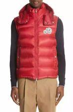 ❤️ Moncler Men's Red Double logo Hodded Full Zipper Gilet Vest Jacket Size 2 M