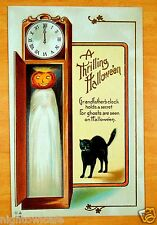 BLACK CAT JACK O LANTERN GHOST Nash A THRILLING HALLOWEEN H-18 Vintage Postcard