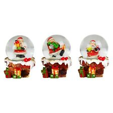 Set of 3 Father Christmas Snowy Chimney Christmas Snow Globes Ornaments