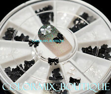 5mm 2color 3D Nail Art Decoration Black White  Mini Pearl Ribbon Bow #R28