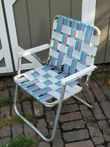 """Vintage Folding Lawn Chair Aluminum Webbed Backing Multi Color Striped 31"""" Tall"""