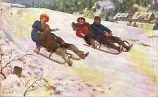 Postcard Art Kids  00006000 Sledding 1908