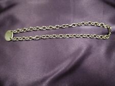 Sterling Silver Open Curb Link Necklace with Engravable Plaque , 44 grams