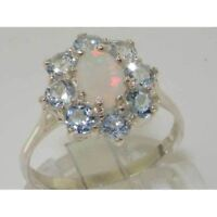 SOLID STERLING SILVER FULL UK HALLMARK QUALITY NATURAL OPAL & AQUAMARINE RING