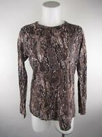 Simply Vera Vera Wang Women sz L Brown Cotton Long Sleeve Snakeskin T-Shirt Top