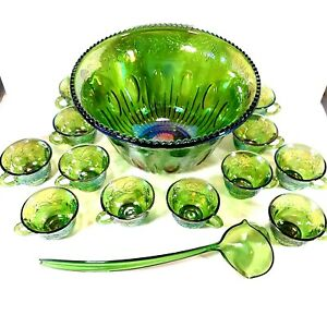 Vintage Indiana Glass Iridescent Green Carnival Punch Bowl Set Harvest Grape