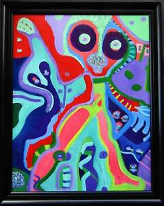 LISTED Louise Abrams Large Older Surreal Oil Painting From Her Estate #3 NO RES
