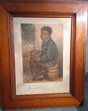 "C. 1853 George Baxter Color Print ""ME WARM NOW"" w/ original period Frame"