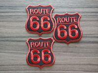 3 pcs Red Route 66 Patch Iron on Embroidered or Sew on Shirt Jacket bag hat jean