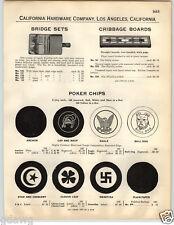 1932 PAPER AD Swastika Clover Leaf Eagle Bulldog Poker Chips Cap Hat Whip