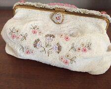 Sagil Paris 1950s Beaded Evening Purse Clutch  Handbag Vintage Couture HTF RARE