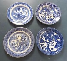 Set of 4 Willow Ware Small Plates/Saucers