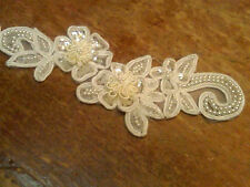 APPLIQUES FLOWERS 3pcs PEARLS Sequins Hand Sewn Off WHITE BRIDAL
