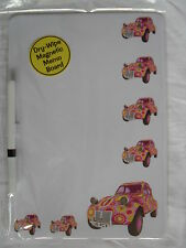CLASSIC PINK CITROEN 2CV CAR DRY WIPE MAGNETIC FRIDGE MEMO BOARD WITH PEN.NEW