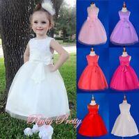 Coral Scoop Dress Wedding Flower Girl Bridesmaid Party Occasion Age 4y-5y FG220B