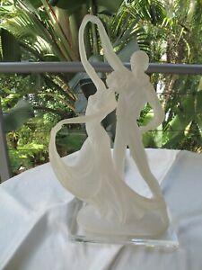 CRYSTALLINE SCULPTURE OF PAIR OF ART DECO DANCERS BY W.ANINA ITALY SIGNED
