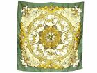 Authentic Hermes Silk Stole Scarf 90x90 Horse Pattern Green E812