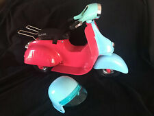 "Our Generation Scooter Motor Bike Fits 18"" Doll Fuchsia Pink Blue With Helmet"
