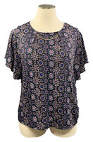 NY COLLECTION 2X black medallion stretch knit short sleeve top w/neckline detail