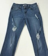 Guess Skinny Ripped Holes Distressed Medium Wash Blue Jeans Metal Logo Womens 25