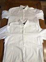 (2) White Button Down Dress Shirt Lot Men 17 43 Slim Fit Long Sleeve Hugo Boss