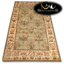 "NATURAL WOOL AGNELLA RUGS olive flowers ""ISF"" thick and durable carpet"