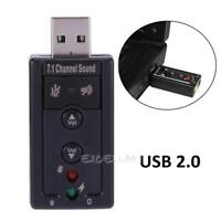 USB 2.0 to Audio External 3D Sound Card Adapter Virtual 7.1 CH PC Mic Speaker