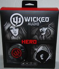 Wicked Audio Hero Headphones Gray Red WI-8311 Noise Isolation Flat Folding NEW